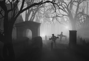 Misty Overgrown Cemetary