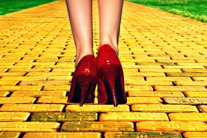 Yellow (gold) Brick Road, heaven doesn't have one of these, but I'm sure you'll need the high heels to dress for the occassion